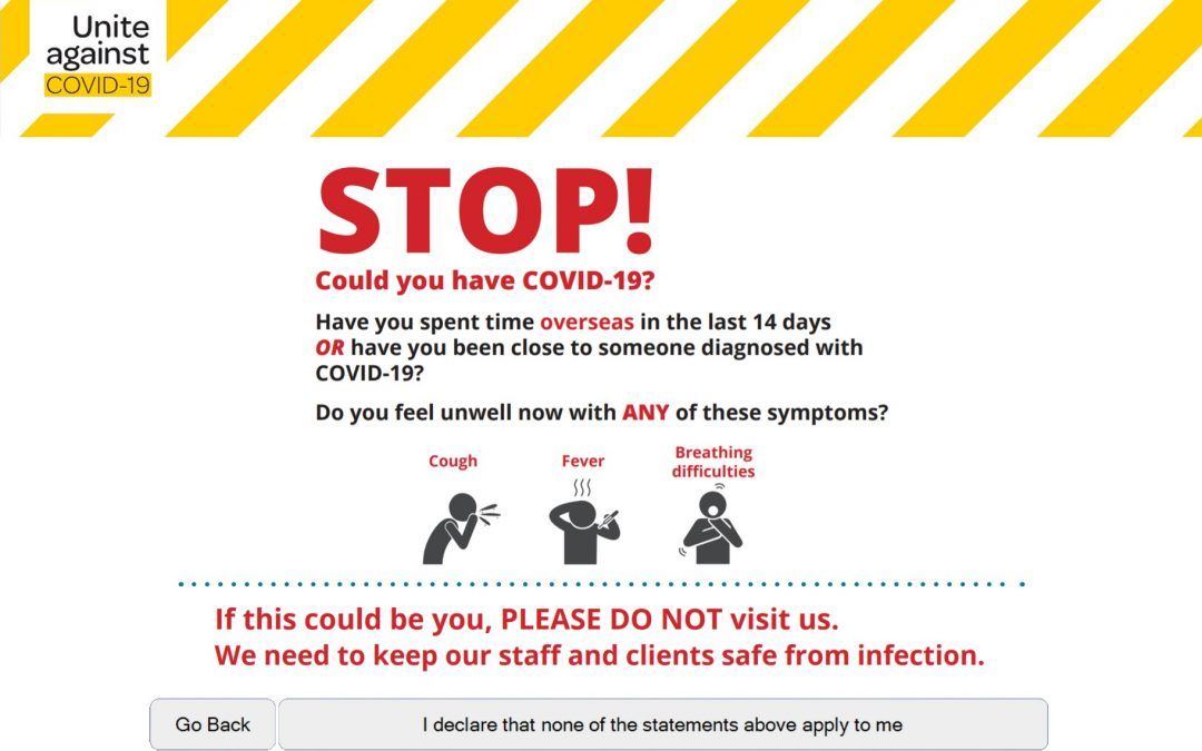 Covid-19 Declaration – confirm the health of visitors
